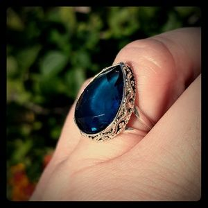 New London Blue Topaz Silver Ring. Size 8